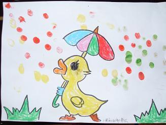 《彩色的雨滴》手指点画&